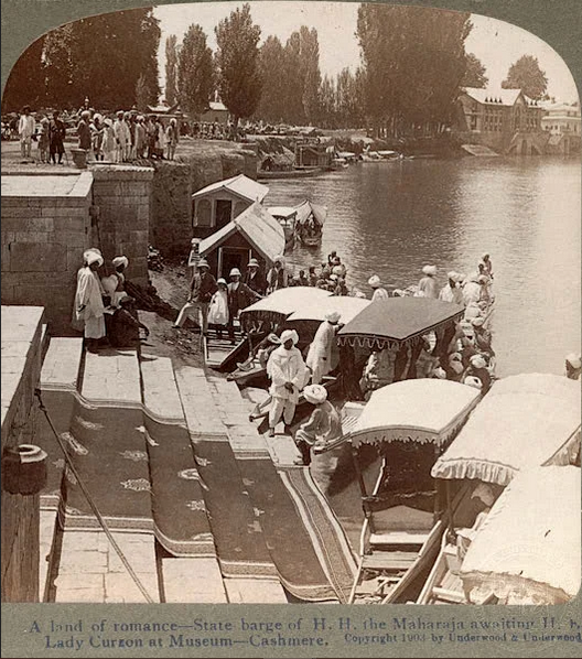 Historical photos of India- State Barge of Maharaja of kashmir