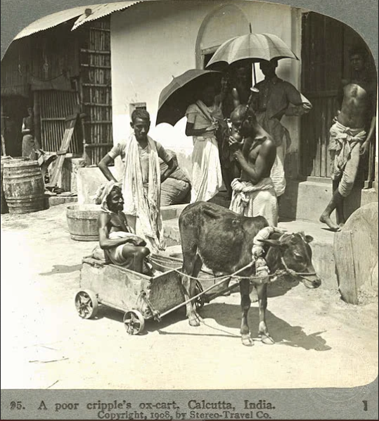 Historical photos of India- man with Small Ox-Cart