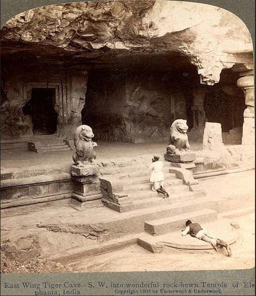 Rare Historical photos of india Rock-Hewn Temple of Elephanta